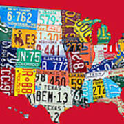 License Plate Map Of The United States On Bright Red Poster