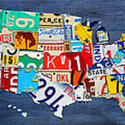 License Plate Map Of The United States - Small On Blue Poster