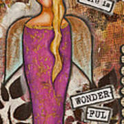Life Is Wonderful Inspirational Mixed Media Folk Art Poster