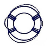 Life Preserver In Navy Blue And White Poster