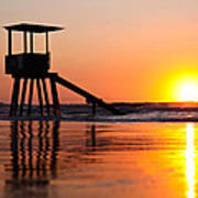 Lifeguard Stand In A Texas Sunrise Poster