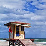 Lifeguard Station In Hollywood Florida Poster by Terry Rowe