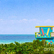 Lifeguard Station In Miami Poster