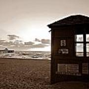 Lifeguard Tower Sunrise In Sepia Poster