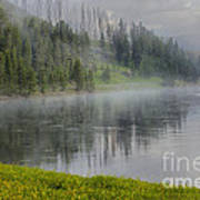 Lifting Fog On The Yellowstone River Poster