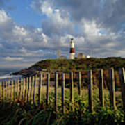 Lighthouse At Montauk With Dramatic Sky Poster