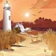 Lighthouse On The Coast Poster