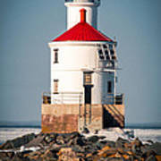 Lighthouse On The Rocks Poster
