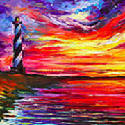 Lighthouse - Palette Knife Oil Painting On Canvas By Leonid Afremov Poster