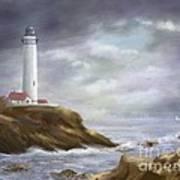 Lighthouse Stormy Sky Seascape Poster