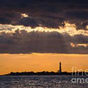 Lighthouse Sun Rays Poster