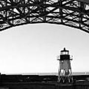 Lighthouse Under Golden Gate Poster