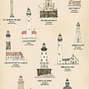 Lighthouses Of The Great Lakes Poster