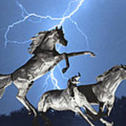 Lightning At Horse World Bw Color Print Poster