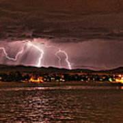 Lightning Over Lake Loveland Poster