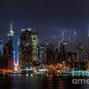 Lightning Over New York City IIi Poster by Clarence Holmes
