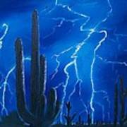 Lightning  Over The Sonoran Poster by Sharon Duguay