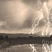 Lightning Striking Longs Peak Foothills Sepia 4 Poster