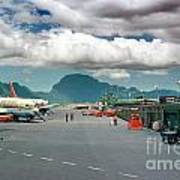 Lihue Airport With Cumulus Clouds In Kauai Hawaii  Poster