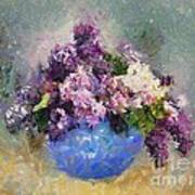 Lilac In Blue Vase Poster