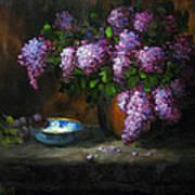 Lilacs In Copper Pot Poster