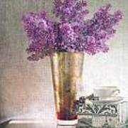 Lilacs In Vase 2 Poster by Rebecca Cozart