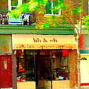 Lili And Oli Latte Espresso Cappucino Coffee Shop Rue Notre Dame St Henri City Scene Carole Spandau Poster