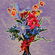 Lilies And Orchids Topaz II Poster