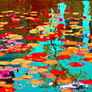 Lily Pads And Koi Colorful Water Garden In Bloom Waterlilies At The Lake Quebec Art Carole Spandau  Poster