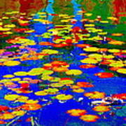 Lily Pads And Koi  Pond Waterlilies Summer Gardens Beautiful Blue Waters Quebec Art Carole Spandau  Poster