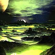 Lime Green Alien Landscape Poster