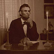 Lincoln At His Desk Poster