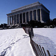 Lincoln Memorial In The Snow Poster