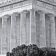 Lincoln Memorial Pillars Bw Poster