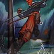 Lineman In Storm Poster