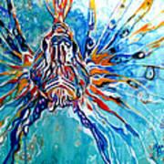 Lion Fish Blue Poster