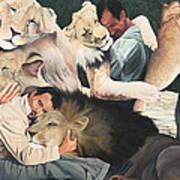 Lion Hugs Poster