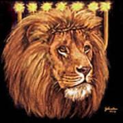 Lion Of Judah - Menorah Poster