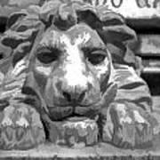 Lion Statue Guard Poster