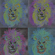Lion X 4 Color  By Jrr Poster