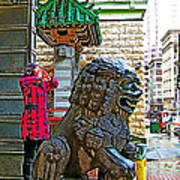 Lions Roar At Entry Gate To  Chinatown In San Francisco-california  Poster