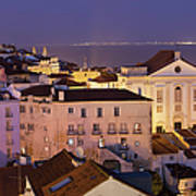 Lisbon At Night In Portugal Poster