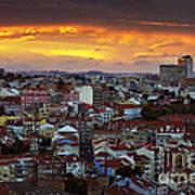 Lisbon At Sunset Poster by Carlos Caetano