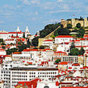 Lisbon Cityscape With Sao Jorge Castle Poster
