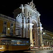 Lisbon - Portugal - Street Cars At Praca Do Comercio Or Terreiro Poster