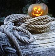 Lit Pumpkin Poster