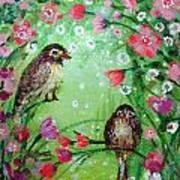 Little Birdies In Green Poster