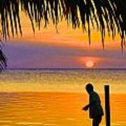 Little Boy Fishing Caye Caulker Belize Poster