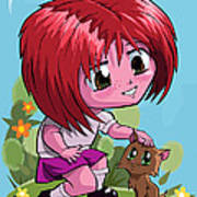 Little Cartoon Manga Girl Stroking Pet Cat Poster