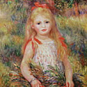 Little Girl Carrying Flowers Poster by Pierre Auguste Renoir